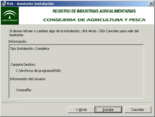 Imagen del proceso de confirmaci�n de la instalaci�n del programa Ria