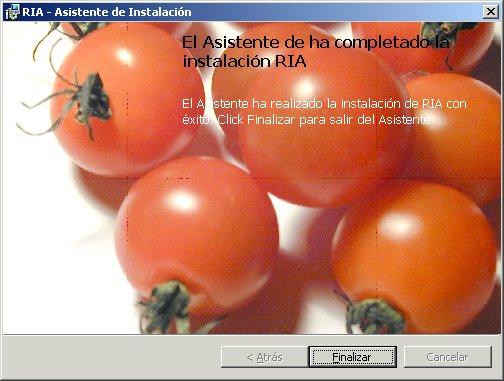 Imagen de la finalizaci�n de la instalaci�n del programa Ria