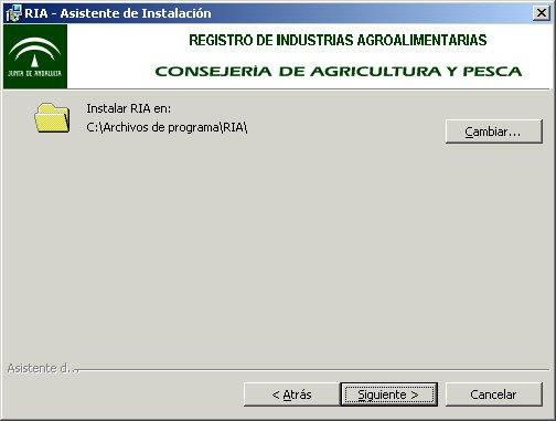 Imagen de la ruta de instalaci�n del programa Ria