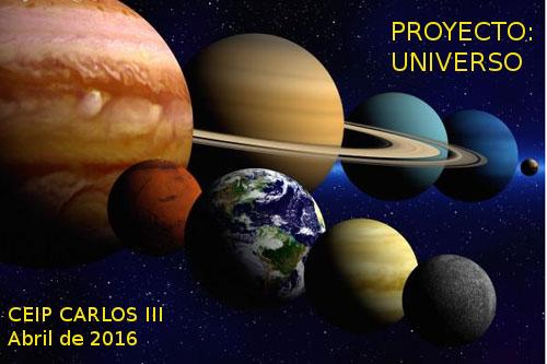 Cartel del taller del Universo. Imágen de los planetas del sistema solar.