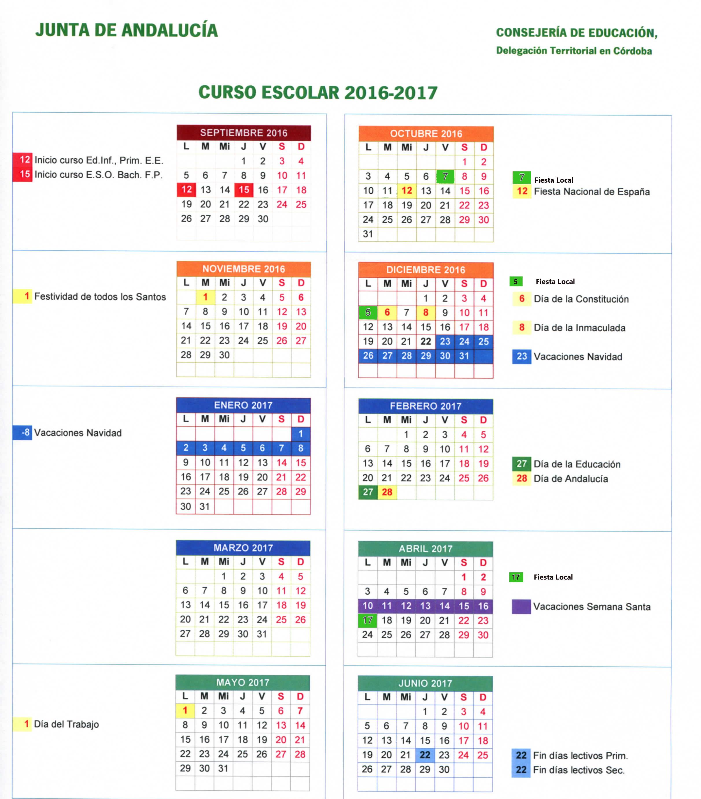 Imagen con el calendario escolar del curso 2016/2017