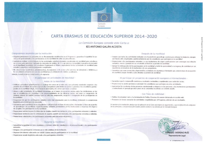 Concesión de la carta ERASMUS al centro