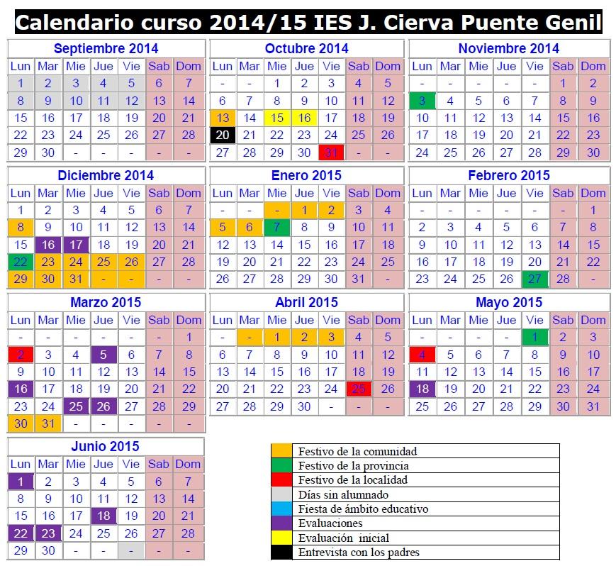 Caslendario escolar 2014-15