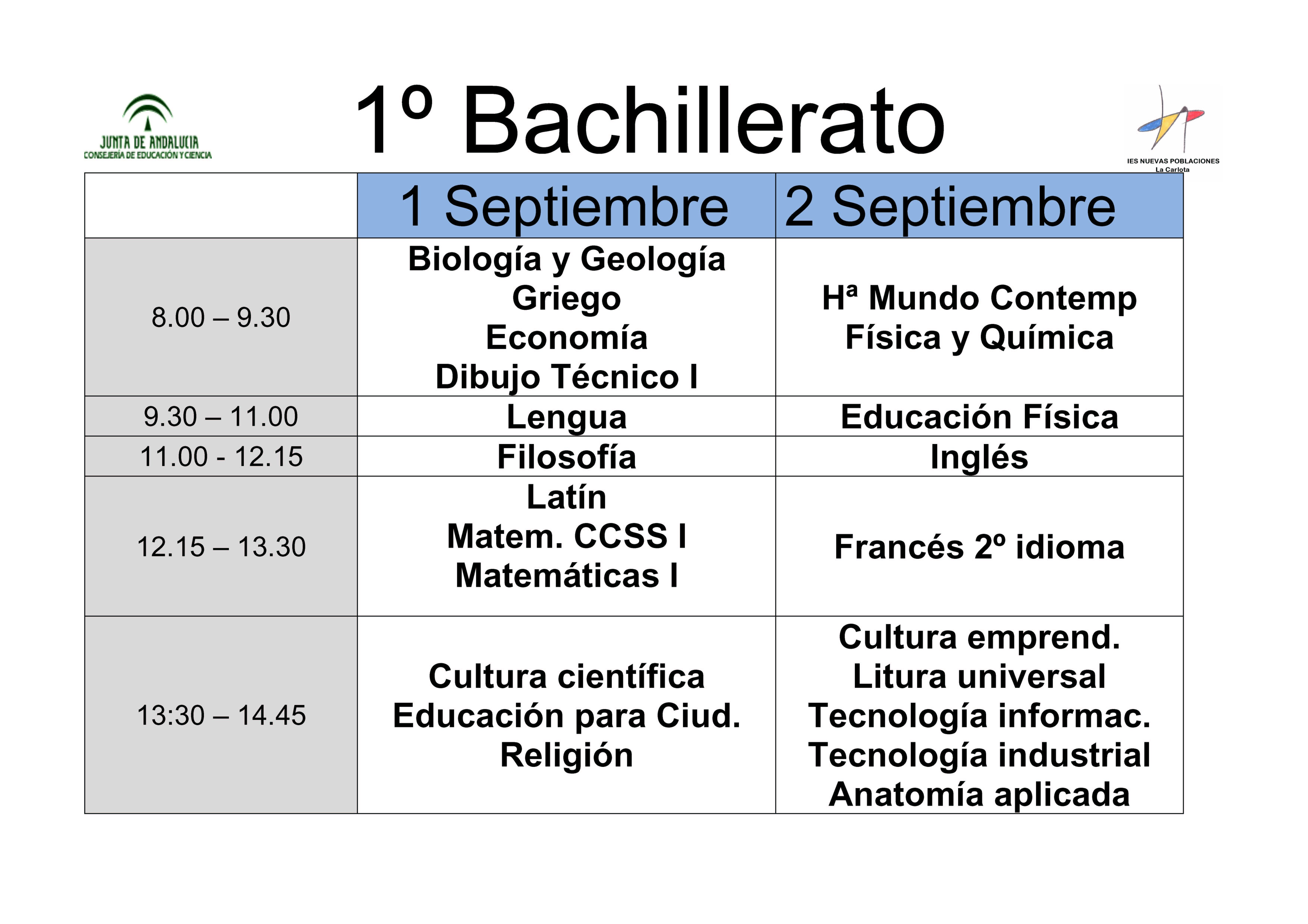 Calendario de exámenes de septiembre 1º bachillerato
