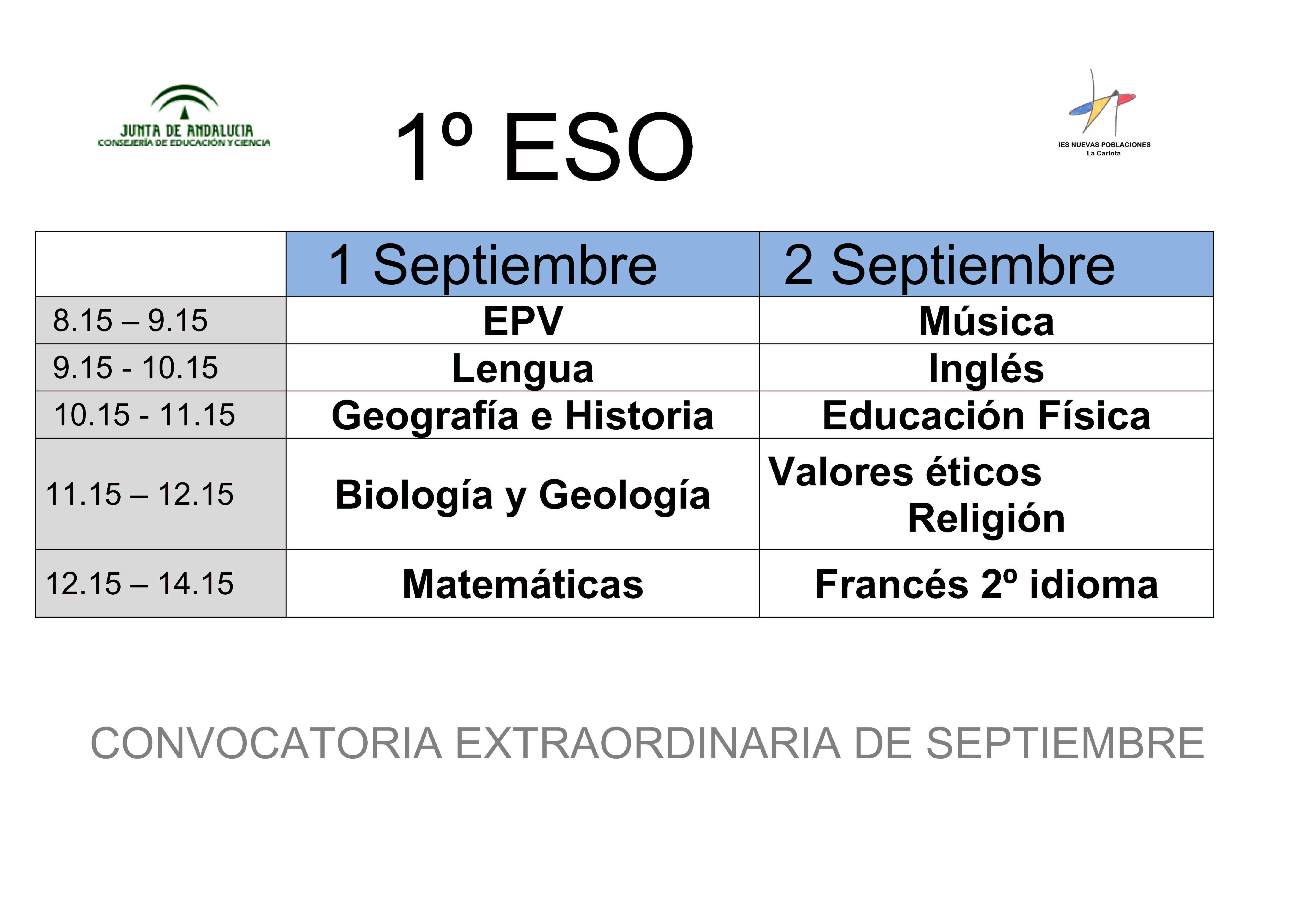 Calendario de exámenes de septiembre 1º ESO