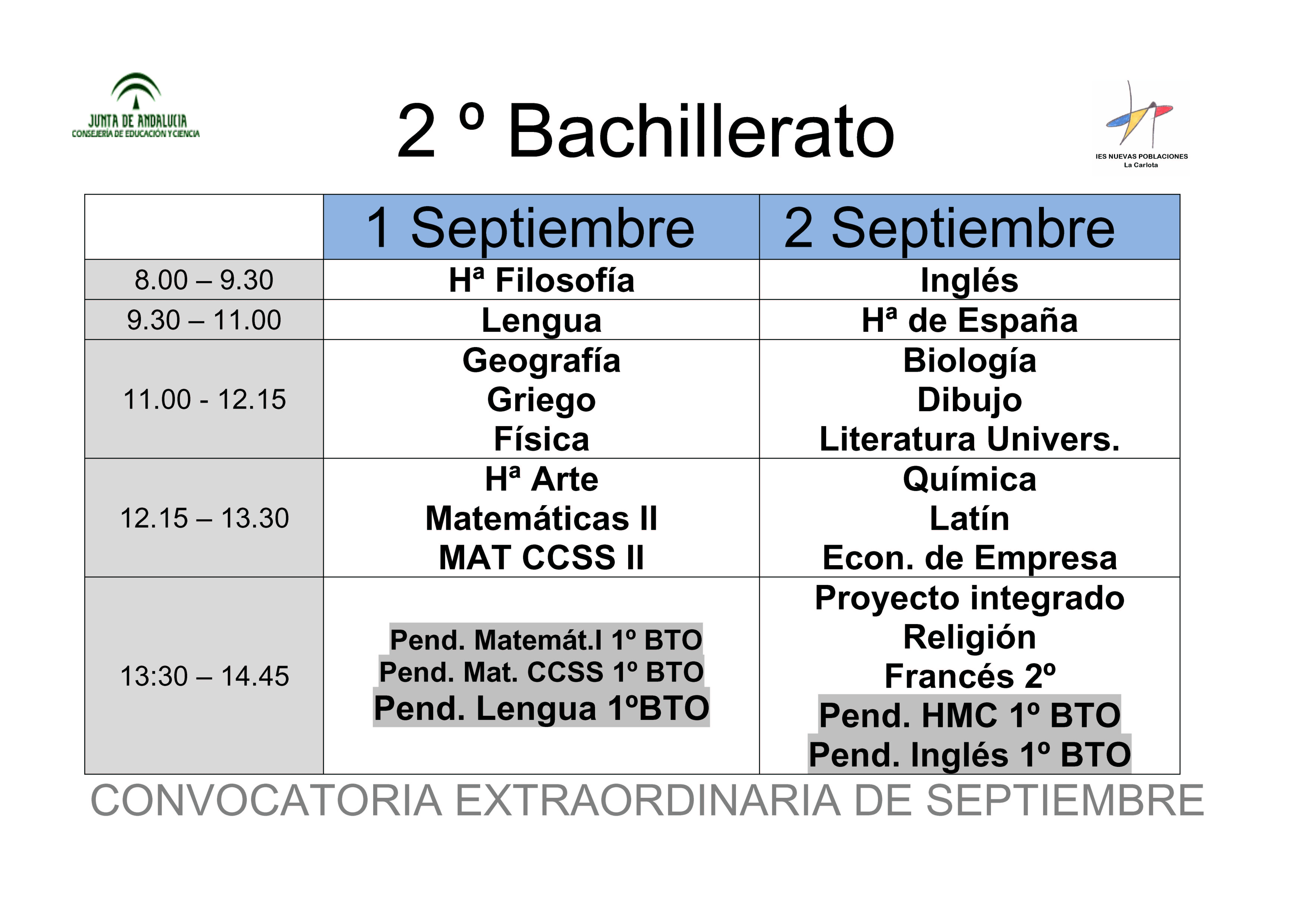 Calendario de exámenes de septiembre 2º bachillerato
