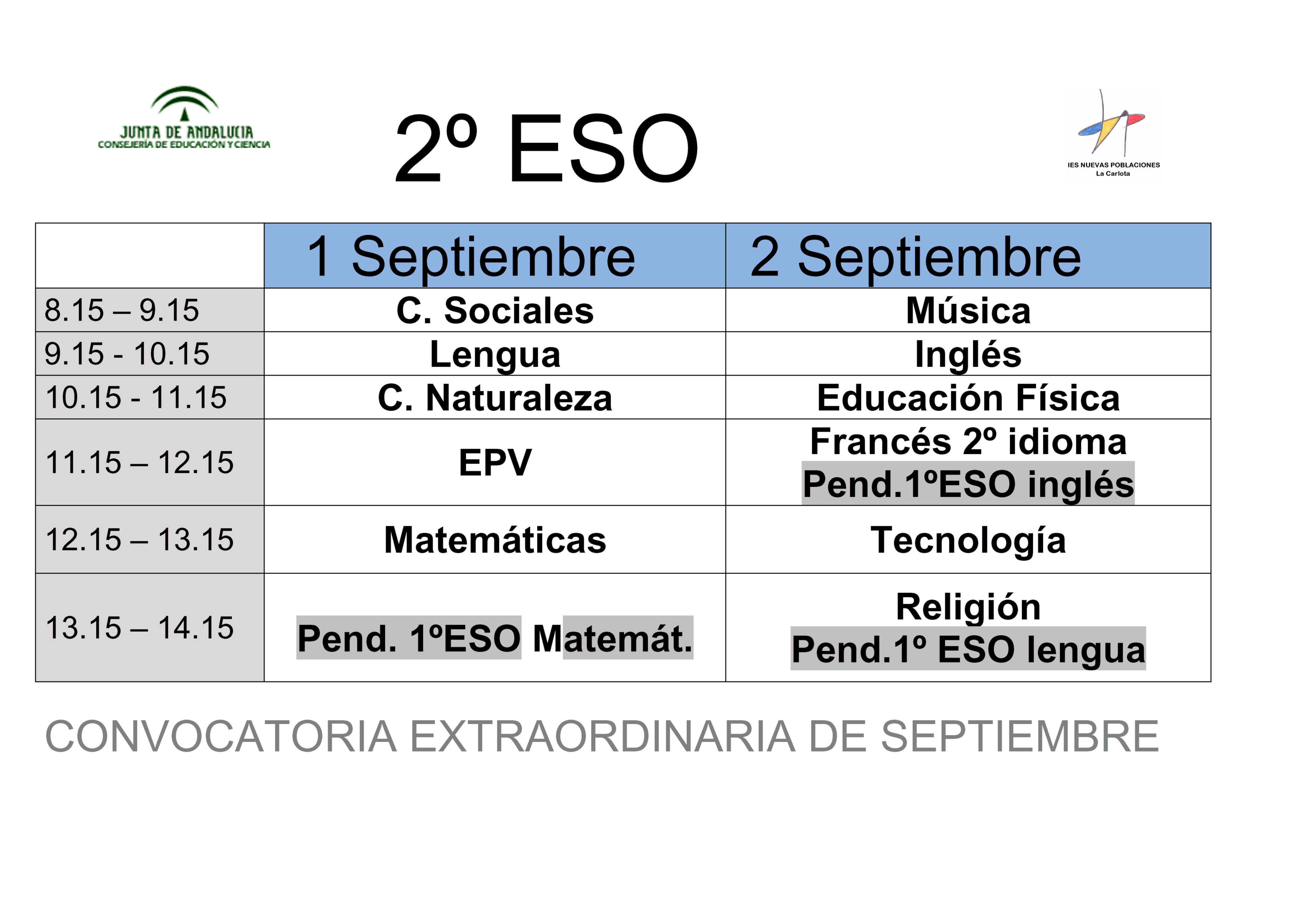 Calendario de exámenes de septiembre 2º ESO