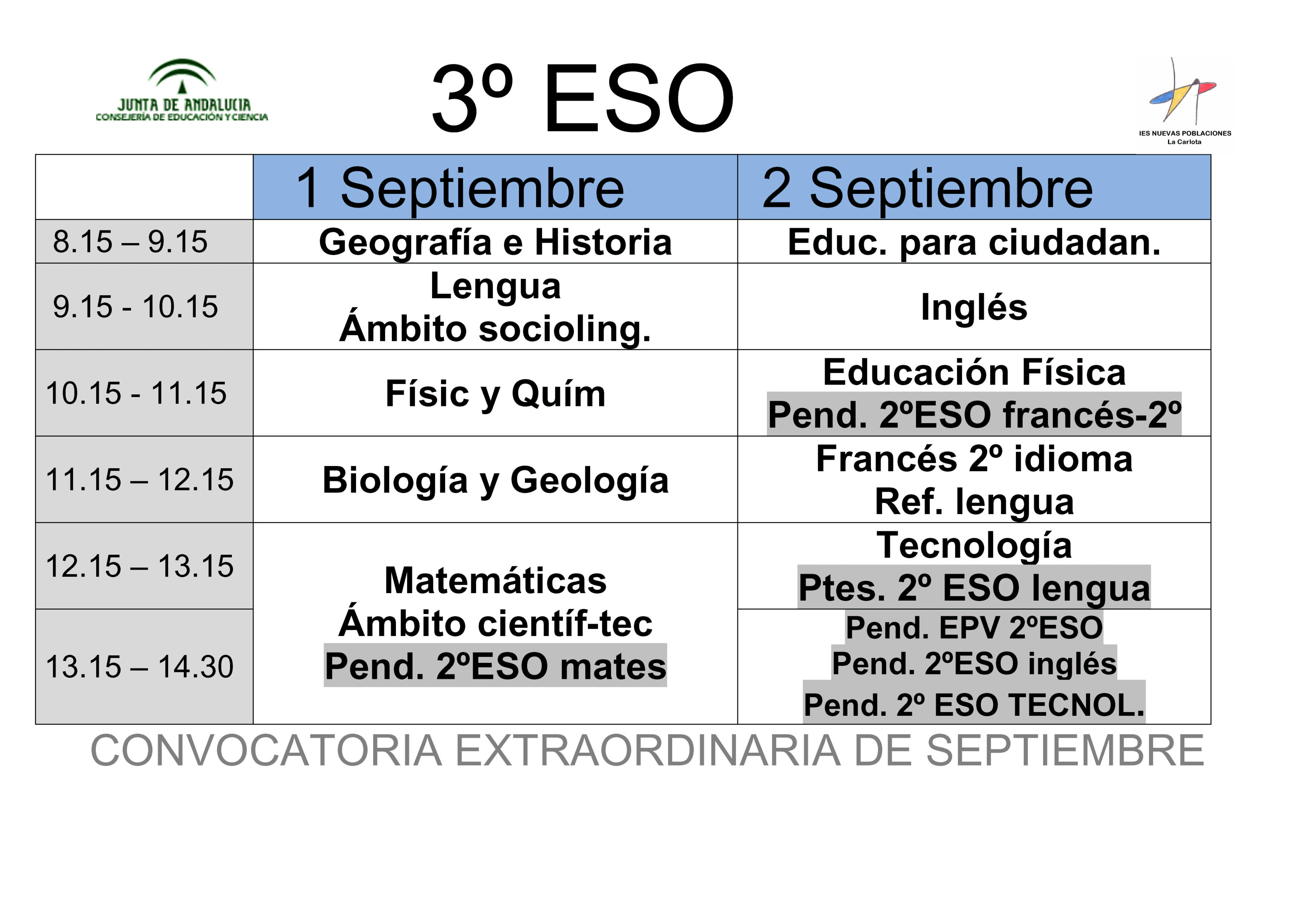 Calendario de exámenes de septiembre 3º ESO