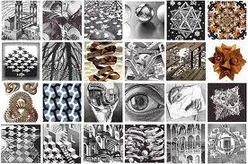 Composición con fotos de obras de Escher