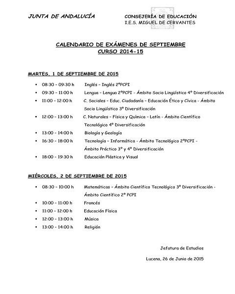 Calendario de examenes de septiembre 2015