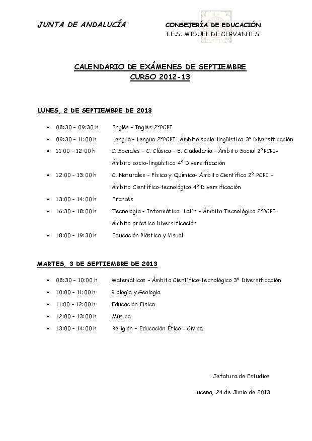 calendario examenes de septiembre 1213