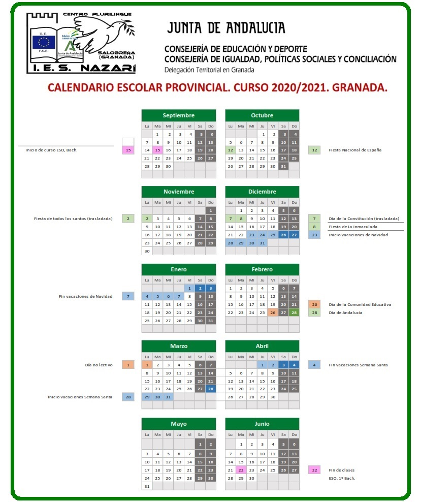Calendario escolar Granada 2020/2021