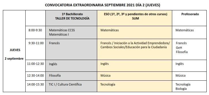 Convocatoria extraordinaria - exámenes de septiembre 2021