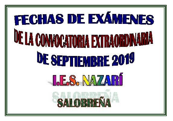 FECHAS DE LOS EXÁMENES EXTRAORDINARIOS DE SEPTIEMBRE 2019