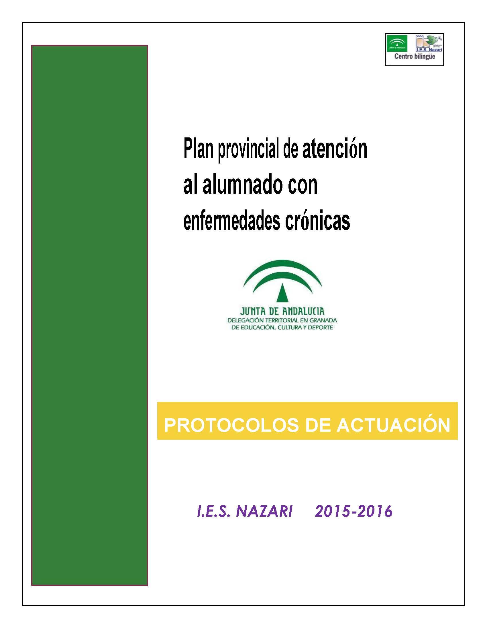 Dosier de PROTOCOLOS DE ATENCIÓN AL ALUMNADO CON ENFERMEDADES CRÓNICAS