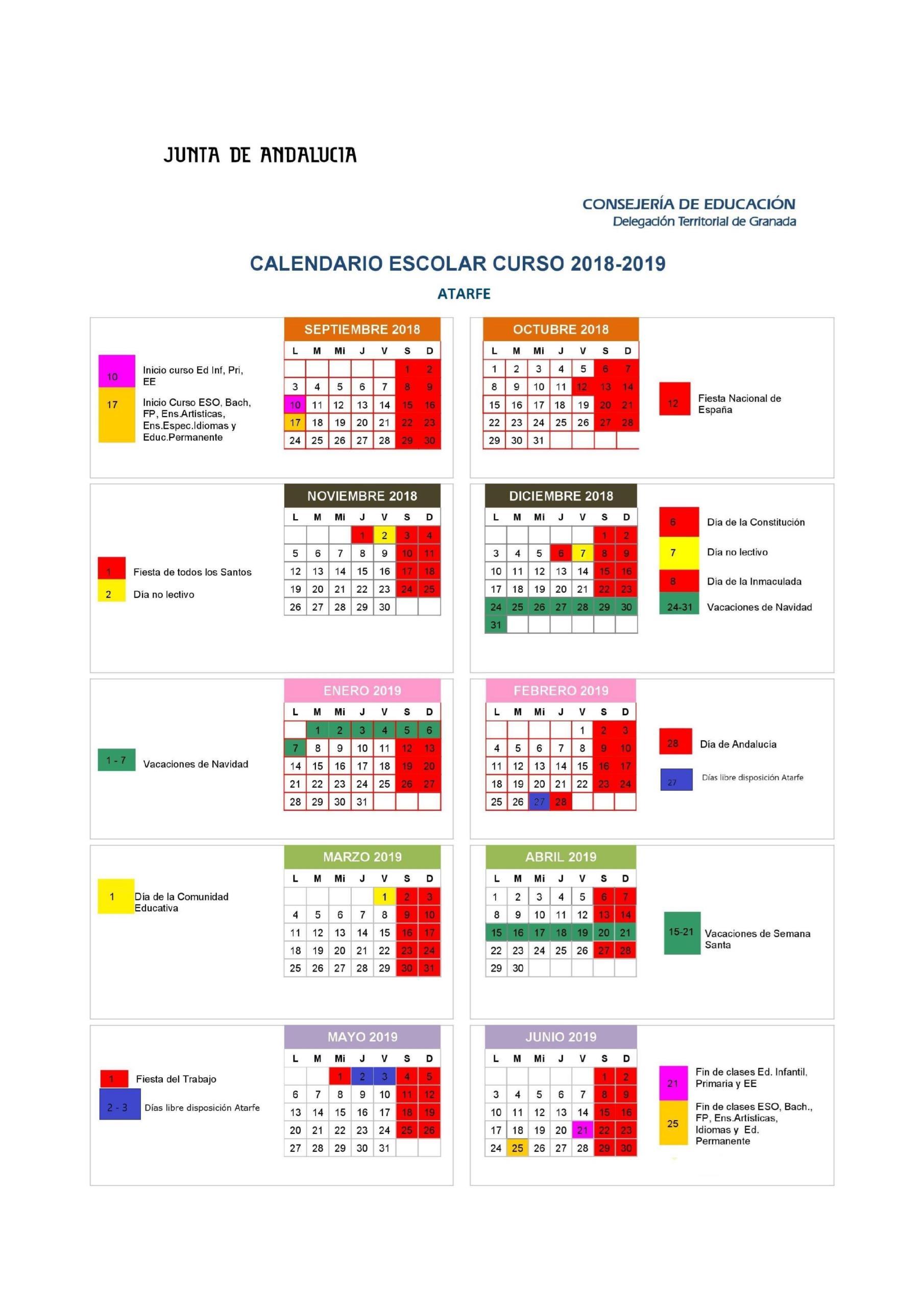 calendario 18 19