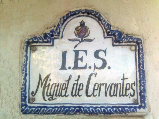 Azulejo entrada IES Miguel de Cervantes.