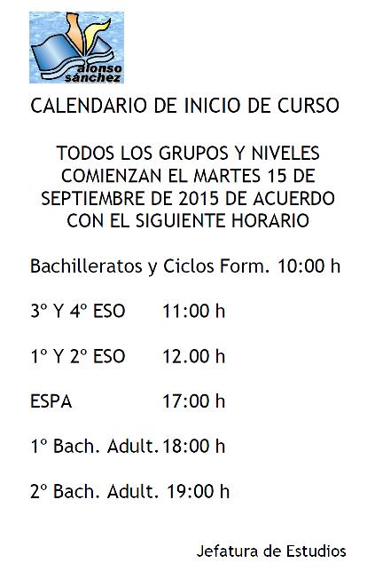Calendario comienzo de curso 2015/16