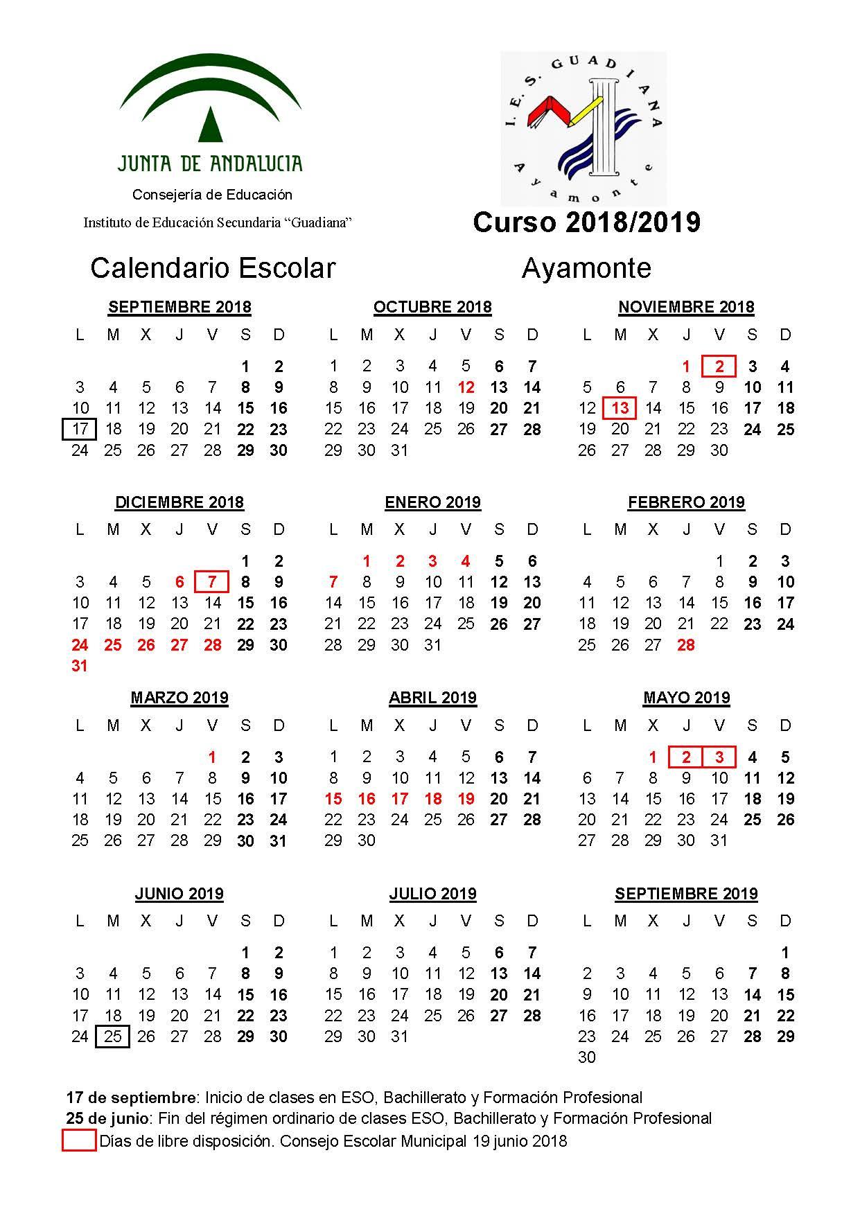 CALENDARIO ESCOLAR 18/19 DEFINITIVO