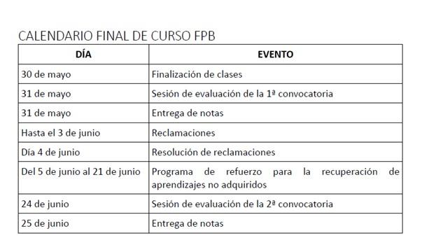 calendario escolar final de curso FPB