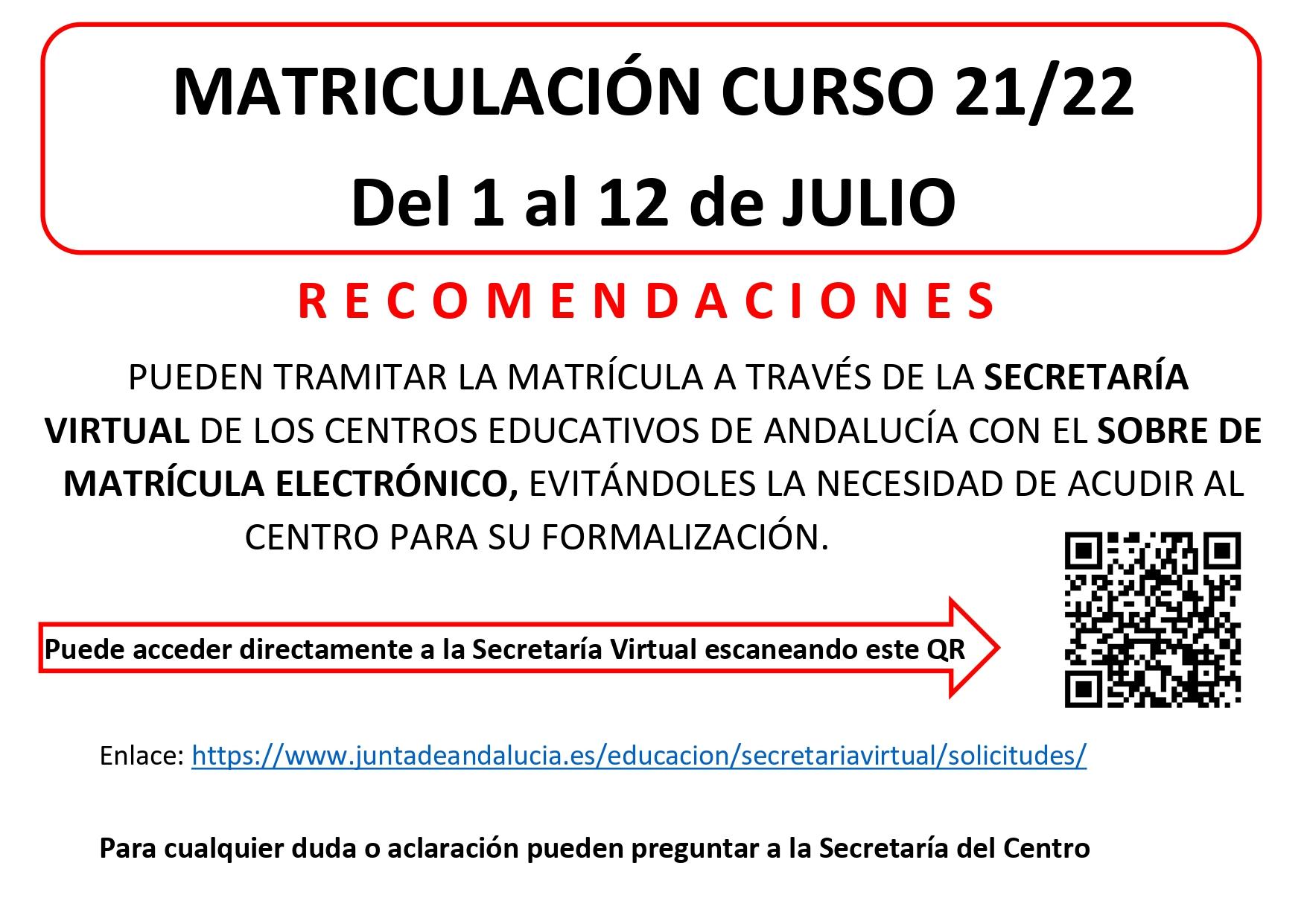matriculacion ESO 21 22
