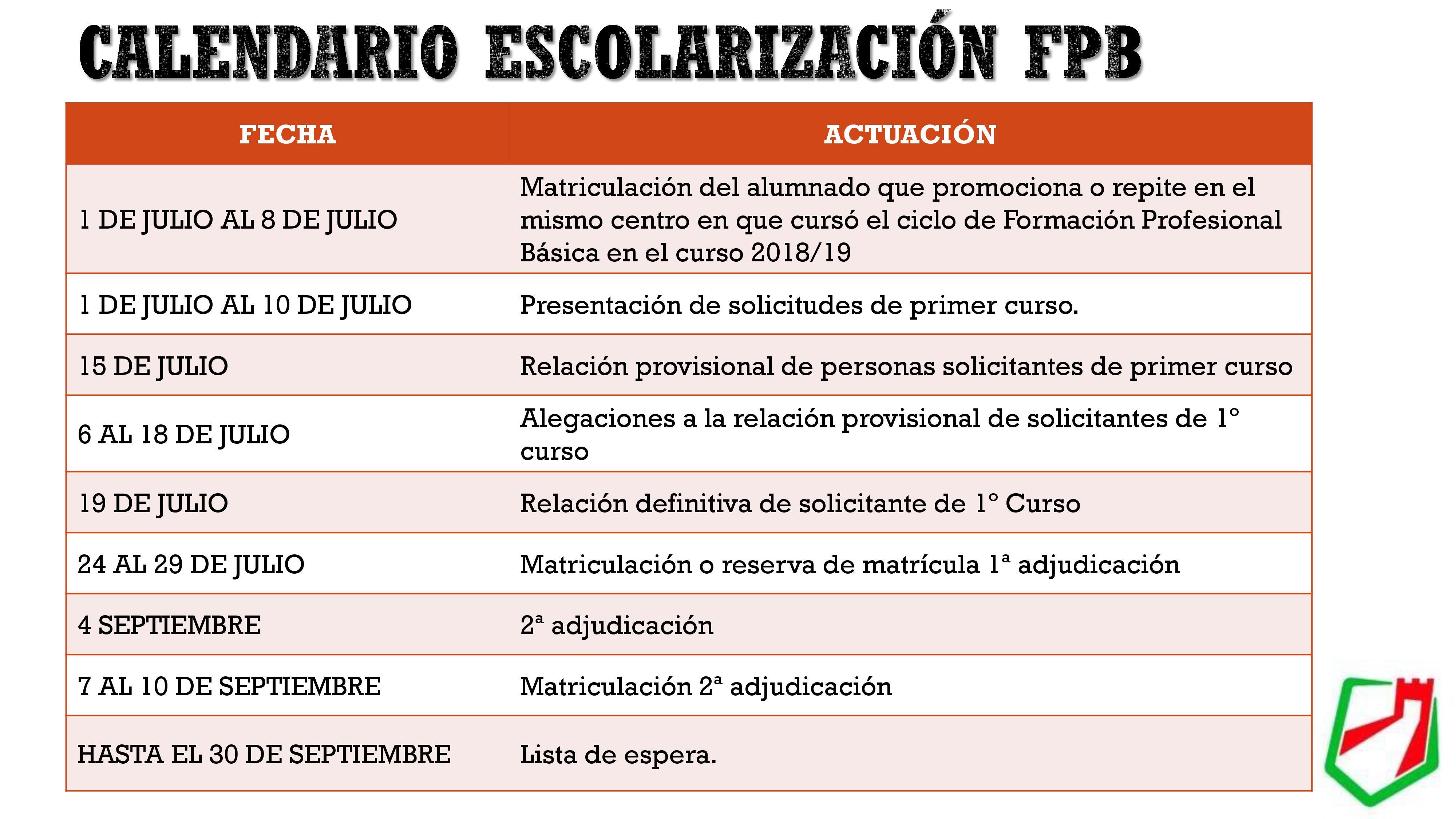 CALENDARIO DE ESCOLARIZACION FP