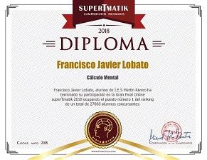 Diploma ganador cálculo mental
