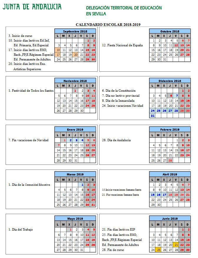 Calendario Escolar 2020 Malaga.Sitio Web De Ceip Antonio Machado