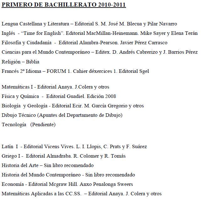 Libros 1º Bach 2010-2011