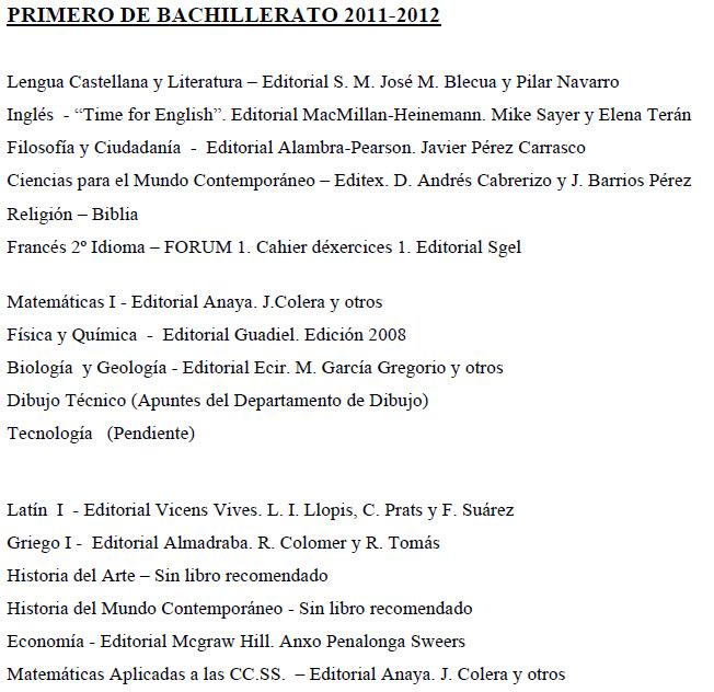 Libros 1º Bach 2011-2012