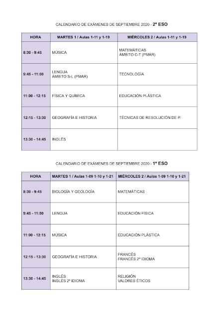 Calendario exámenes de septiembre 1º y 2º