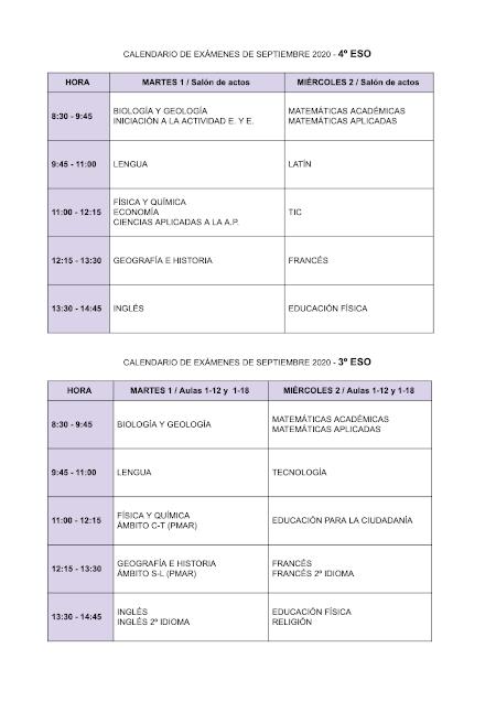 Calendario exámenes de septiembre 3º y 4º