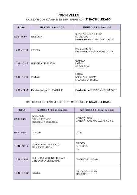 Calendario exámenes de septiembre bto
