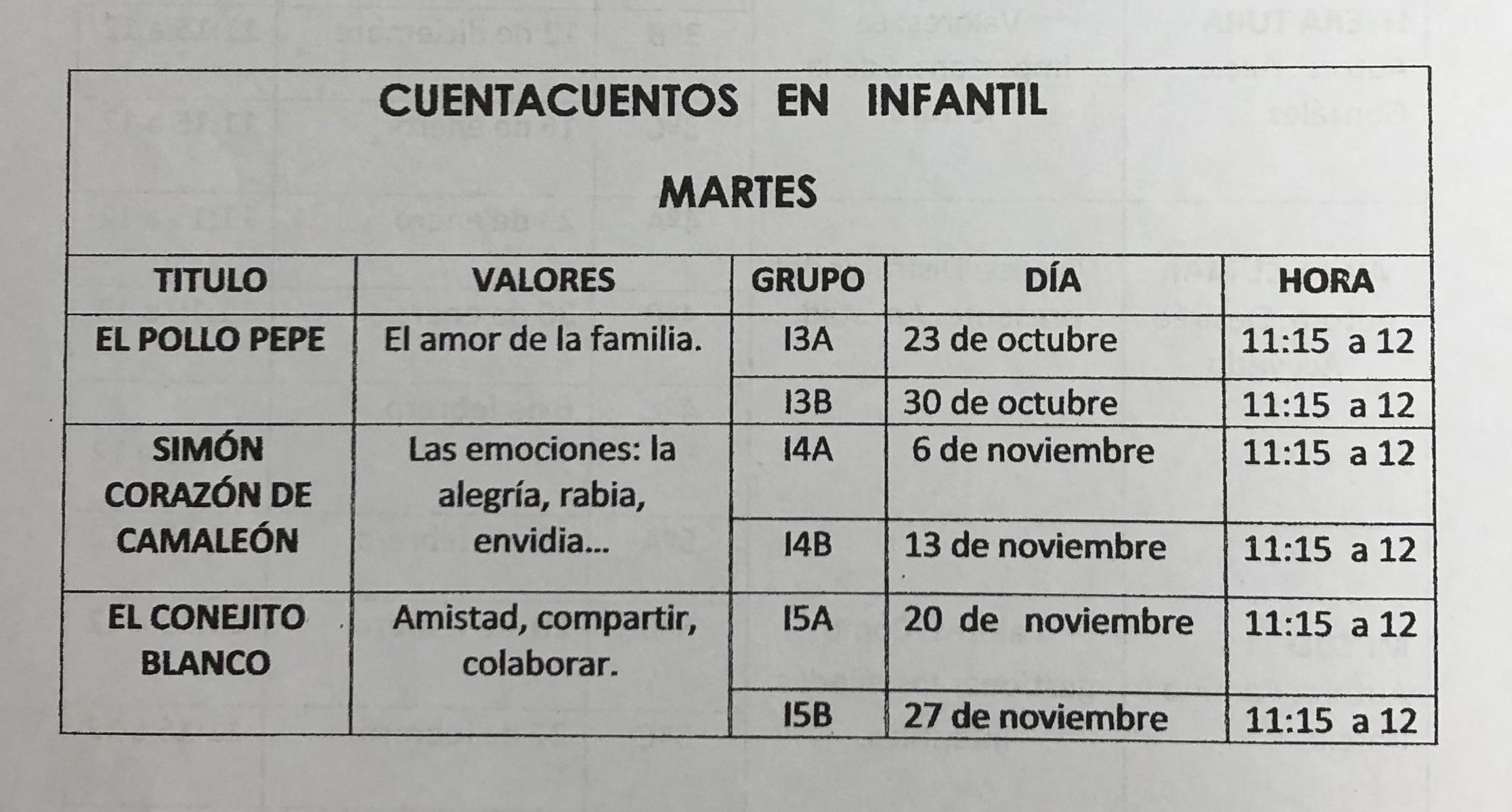 Programa Cuentacuentos Infantil 2018/19