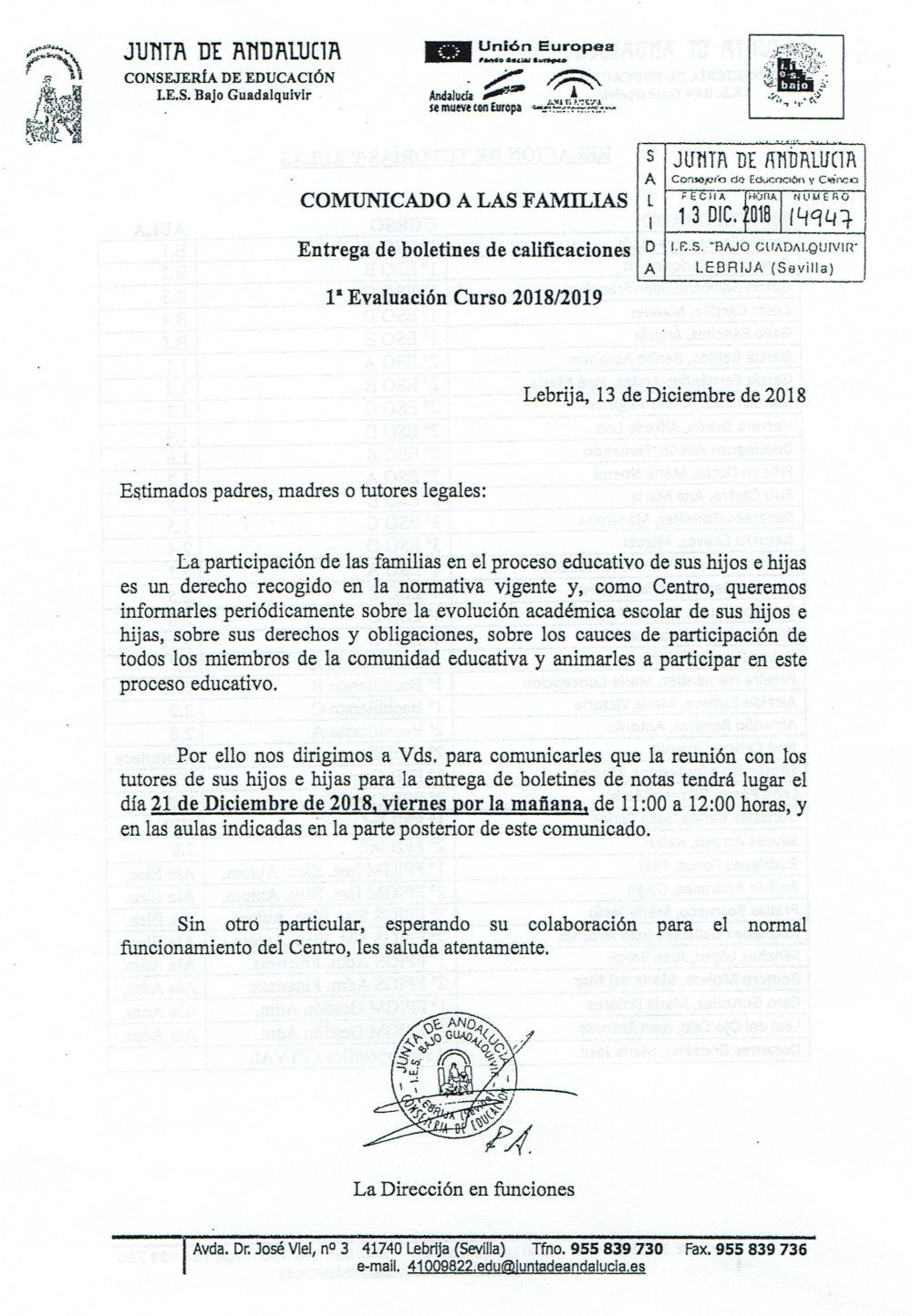 Boletín notas 1º evaluación 1