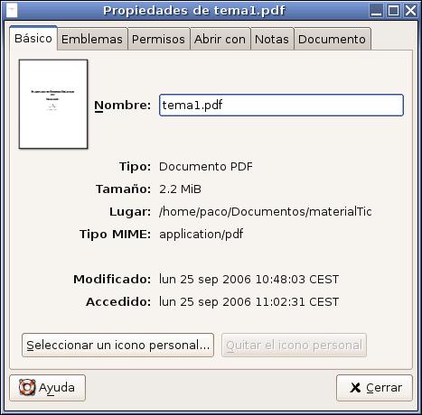 Propiedades de los archivos