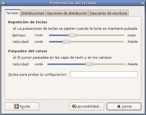 Configuración del teclado