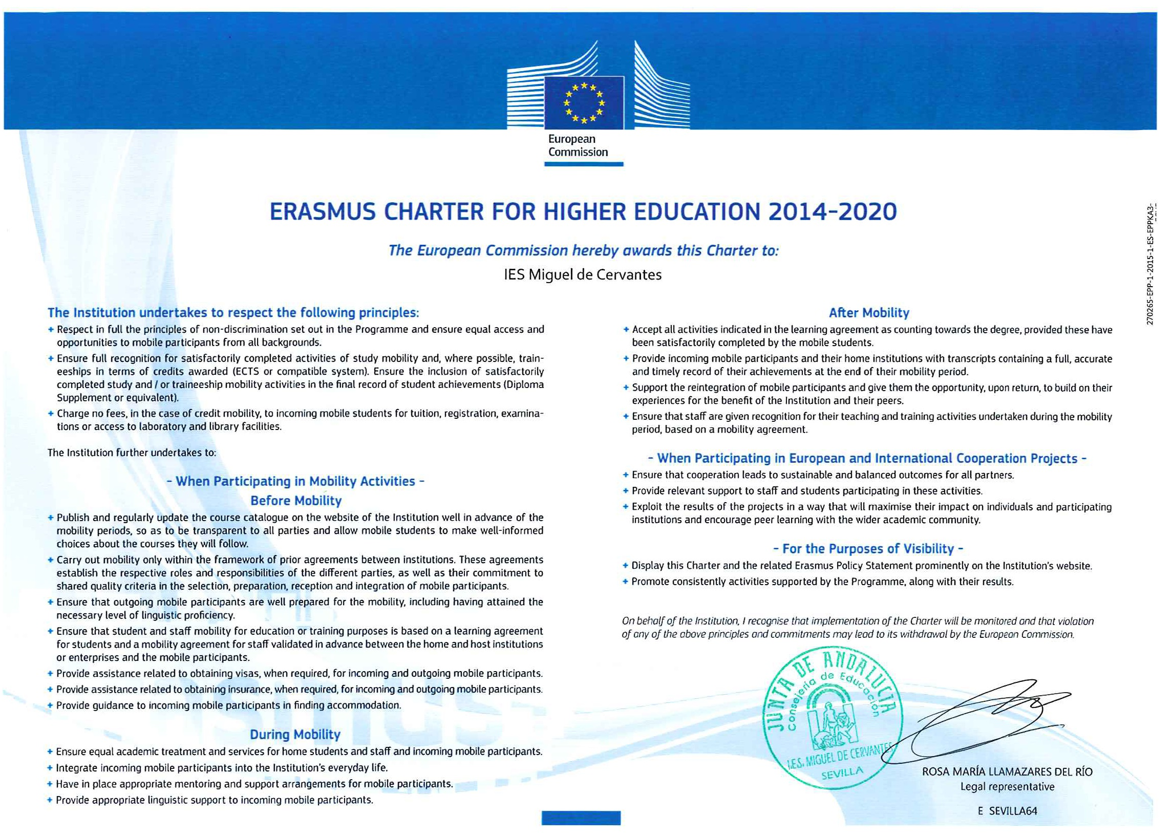 Carta Erasmus en Inglés