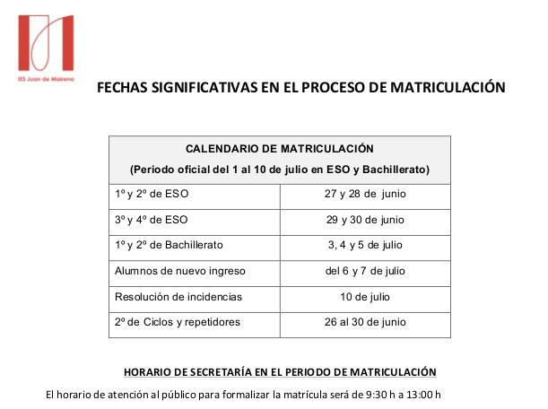 cuadrante de fechas para la matriculacion curso 17-18