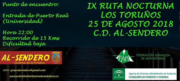 """El club Al-Sendero organiza para el día 25 de agosto la IX Ruta Nocturna """"Los Toruños"""""""