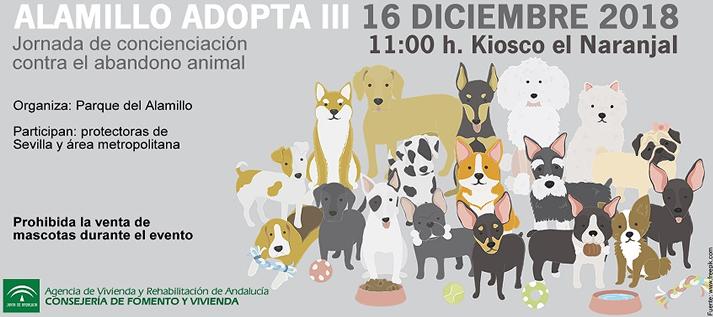 El Alamillo reunirá el 16 de diciembre a más de 30 protectoras de animales en el III Encuentro de Adopción de Mascotas