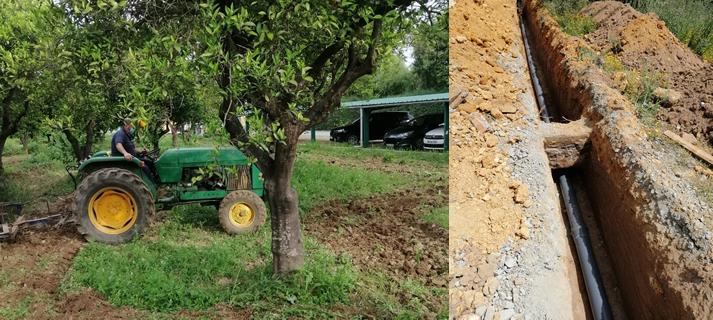 El Parque del Alamillo instala una nueva tubería para garantizar el riego de los naranjos