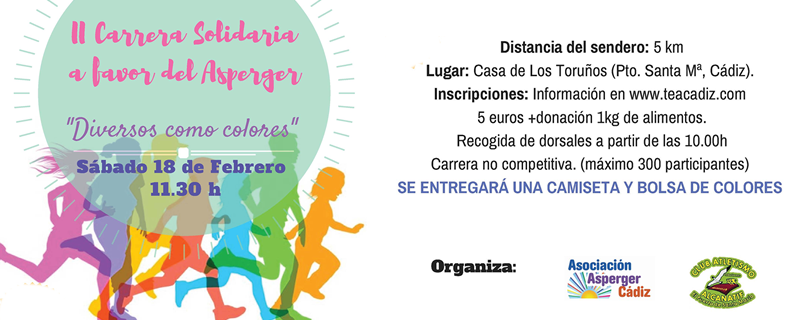 """La Asociación Asperger de Cádiz organiza para el sábado 18 la II carrera solidaria no competitiva """"Diversos como colores"""""""
