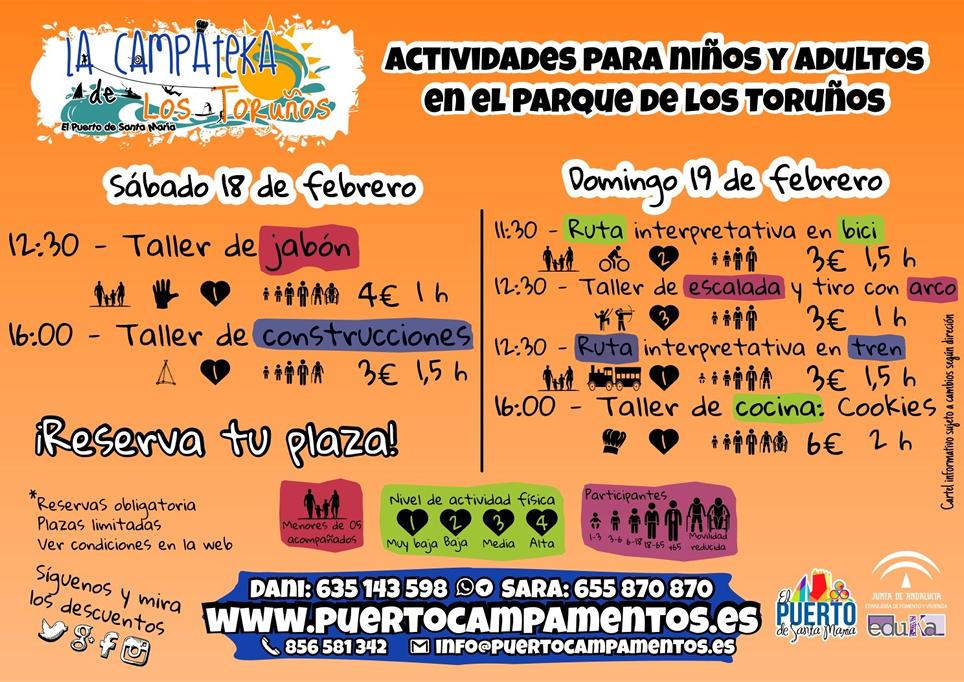 Puertocampamentos: Programación Fin de Semana 18-19 de febrero en El Parque Metropolitano Marismas de los Toruños y Pinar de la Algaida