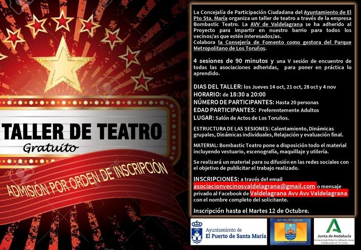 El 14 de octubre comienza en el Parque de Los Toruños un taller vecinal para fomentar el teatro