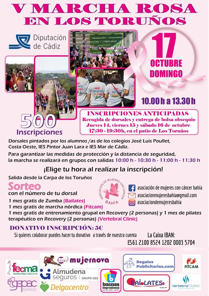 Mujeres con Cáncer de la Bahía convocan para el domingo día 17 la V Marcha Rosa de los Toruños