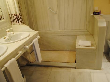Hotel Alcázar de la Reina. Habitación adaptada. Ducha
