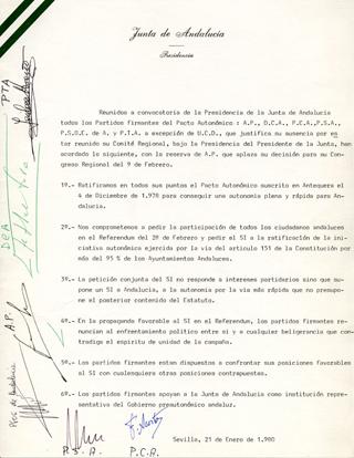 Ratificación del Pacto Autonómico