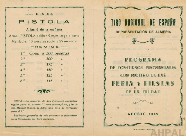 Concurso de tiro con motivo de la Feria de Almería, año 1949 [AHPAL CAR-007 anv]