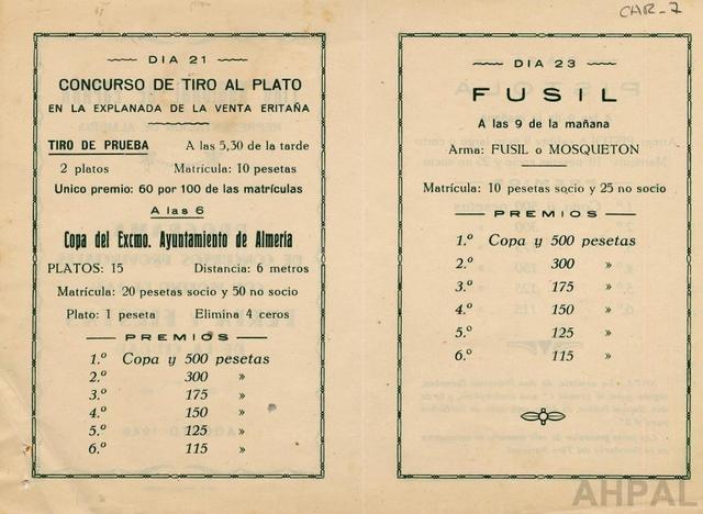 Concurso de tiro con motivo de la Feria de Almería, año 1949 [AHPAL CAR-007 rev]